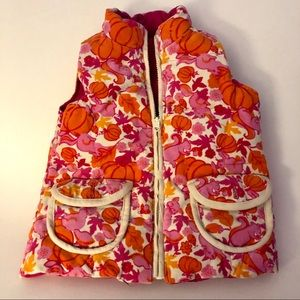 Lilly Pulitzer Fall Pumpkin reversible vest size 4